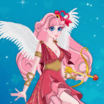 Cute Cupid is preparing for Valentines Day