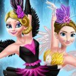 Ellie and Annie Black Swan and White Swa
