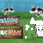 Happy Milk Glass